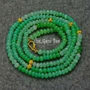 18k Solid Yellow Gold Gem Green Chrysoprase Bead 36 Inch Opera Necklace