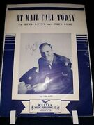 Gene Autry Autograph Signed Sheet Music At Mail Call Today 1945