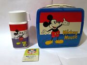 Disney Mickey + Minnie Mouse Lunchbox + Thermos Zojirushi Japan 1980s Lunch Box