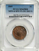 1869 2c Pcgs Ms 65rb Fs-301 Mpd And Rpd Pop Top Two Cent Copper Variety