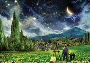 1000 Piece Jigsaw Puzzle Landscapes Painter And The Moon In The Starry Night
