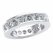 18k Gold 3 Ct Ladies Round Cut Diamond Classic Channel Eternity Band Ring G Si1