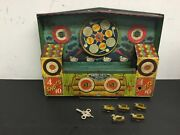 Vintage 1930s Tin Litho Wyandotte Model Duck Shooting Gallery Has Ducks And Key