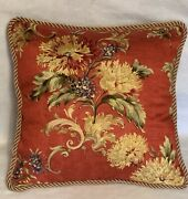 French Country Cottage Floral Garden Red Yellow Gold Pillow Farm House