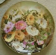 Antique Victorian Floral 1886 Ji Haight 16 Platter Charger China Painting Mums