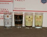 Canadian Whiskey Glass Lot Of 4 Seagrams V.o. Black Velvet Schenley And C. Club