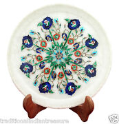 15 White Marble Serving Plate Rare Mosaic Inlay Pietradure Collectible Decor