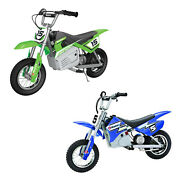 Razor Mx350 And Mx400 Dirt Rocket Kids Electric Motorcycle Bikes, 1 Green And 1 Blue