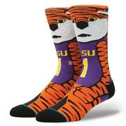 Stance Lsu Louisiana State Mike The Tiger Mascot Crew Socks Menand039s 9-12 Nwt Disc