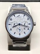 Parnis 43mm White Dial Power Reserve Miyota Date Steel Band Automatic Mens Watch