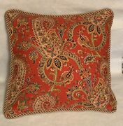 French Country Cottage Floral Garden Red Yellow Blue Gold Pillow Farm House