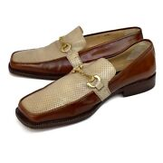 Vintage Olivier Leather Shoes 2 Tone Italian Loafers Brass Horse Bit Mens Sz 10