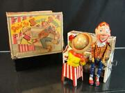 1950's Unique Art Howdy Doody Band Tin Wind Up Toy Bob Smith Character W/ Box