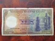 Old Banknote From Egypt 10 Pounds 1939 Cook Sign.