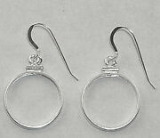 Coin Earring Findings For Cent Nickel Or Dime Coins .925 Silver Bezels Hooks