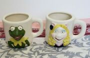 The Muppets Ceramic Mugs Kermit And Miss Piggy Hand Painted Vintage 3d Cup Mug
