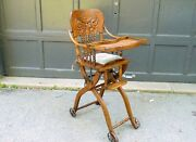 Antique Oak Press Back Collapsible Folding Child's High Chair Stroller C1900