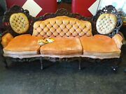 Antique Victorian Sofa Set. Stunning Peach Colored Couch, King And Queen Chair.