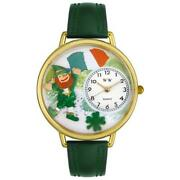 Whimsical Watches G1224001 St. Patricks Day W/irish Flag Hunter Green Leather...