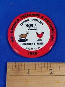 1989 Mid America Threshing And Antiques Tipton Indiana Pinback Button Vtg Tractor