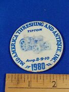 1980 Mid America Threshing And Antiques Tipton Indiana Pinback Button Vtg Tractor