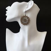 Large Round Bronze Filigree Coin Earrings Statement Lace Women Jewelry Gift