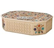 8x5x3 Antique Trinket Marble Box Grill With Floral Inlay Bedroom Decor H4061a