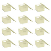 Homz Large Plastic Woven Storage Basket Bin With Matching Lid, Cream 12 Pack