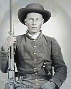 8 By 10 Civil War Photo Print Confederate Soldier Colt Revolver Bowie Knife