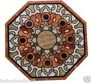 30 White Marble Coffee Table Top Real Inlay Mosaic Floral Art Patio Decor H1512