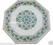24 White Marble Coffee Table Top Rare Marquetry Malachite Gem Inlay Decor H2305