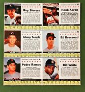 1961 Post Cereal 6 Card Panel With Hank Aaron