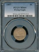 1857 Flying Eagle Cent Pcgs Ms 64 A Sharply Struck Beauty