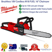 New Milwaukee Brushless 18v Cordless M18 Fuel 16 Chainsaw Oregon Bar And Chain