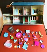 Vintage 1950s Marx Toys Metal Doll House Tin Litho W/ Furniture And Accessories