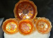 Antique Fenton Butterfly And Berry Marigold Carnival Glass Bowl And Berry Bowls