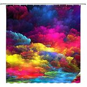 Colorful Shower Curtain Abstract Watercolor Art Decor Beautiful Ink Bathroom Set