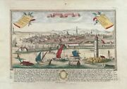 Leghorn. View Of The Port And The City From The Sea. F.b.werner. Ca 1725
