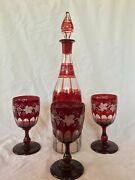 Vintage Czech, Bohemian Ruby Red Cut To Clear Decanter W/ Three Glasses Set