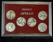Apollo Project 7 8 9 10 11 30mm 6 Silvered Medal Set Scarce In Holder