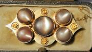 Heavy Antique 18ct Solid Gold Etruscan Opalescent Marine Shell Brooch Fitted Box
