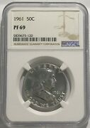 1961 P Ngc Pf69 Silver Proof Ben Franklin Half Dollar 50c 90 Silver White Coins