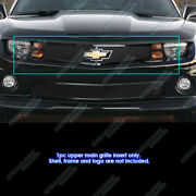 Fits 2010-2013 Chevy Camaro Short W/ Logo Show Upper Stainless Black Mesh Grille