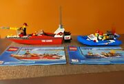 Lego - City - 60005 - Fire Boat 2 Manuals. 1 Figurine Missing