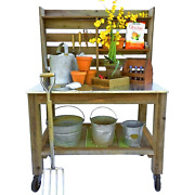 Outdoor Potting Table Work Station Buffet Island Cart 5in Black Cast Iron Wheels