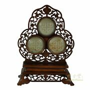 Antique Chinese Hand Carved Rosewood Table Screen With Jade Insert
