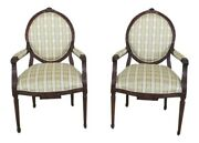 L29991ec Pair Ej Victor French Louis Xv Style Carved Open Arm Chairs New