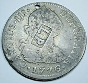 1776 Lp Countermark Spanish Mexico Silver 2 Reales Us Colonial Counterstamp Coin