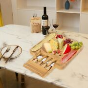 Cheese Board And Cutlery Set With Slide-out Drawer 100 Natural Bamboo Us Seller
