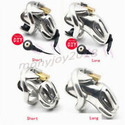 Metal Stainless Steel Male Chastity Cage Device Electric Shock Ordinary Locking
